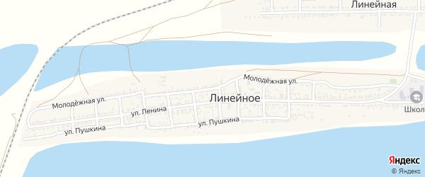 Молодежная улица на карте Линейного села Астраханской области с номерами домов