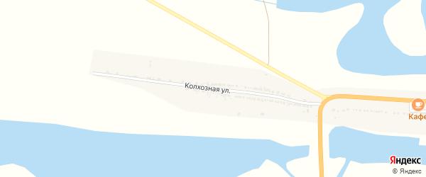 Колхозная улица на карте Заречного села Астраханской области с номерами домов