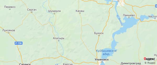 Карта Батыревского района Республики Чувашии с городами и населенными пунктами