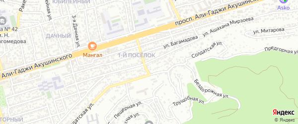 Улица Ашахана Мирзоева на карте Махачкалы с номерами домов