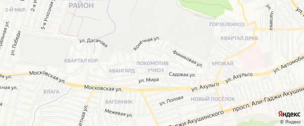 Квартал Локомотив на карте Махачкалы с номерами домов