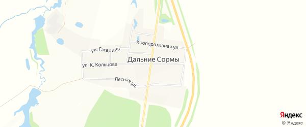 Карта деревни Дальние Сормы в Чувашии с улицами и номерами домов