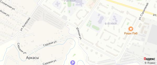 Южная улица на карте Новочебоксарска с номерами домов