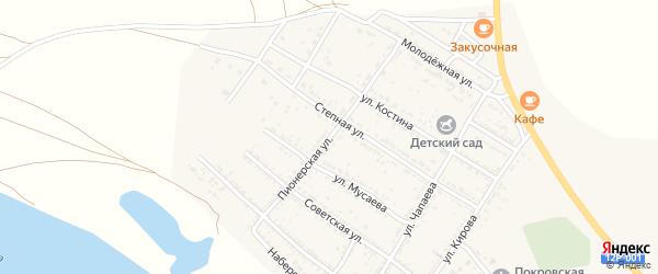 Пионерская улица на карте Селитренного села Астраханской области с номерами домов