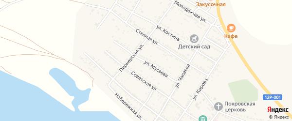 Улица Мусаева на карте Селитренного села Астраханской области с номерами домов