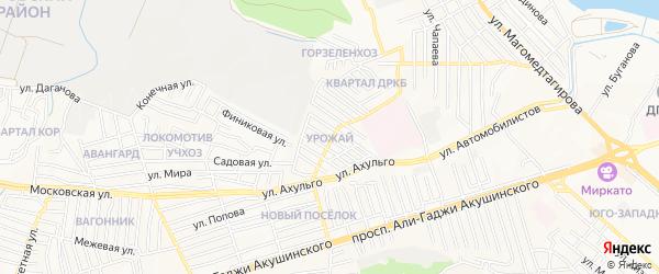 Квартал Урожай на карте Махачкалы с номерами домов