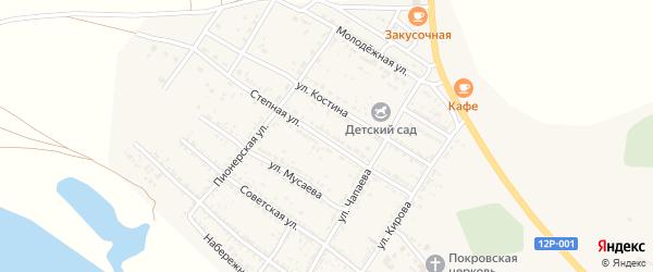 Степная улица на карте Селитренного села Астраханской области с номерами домов