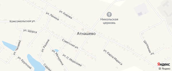 Улица П.Морозова на карте деревни Атнашево с номерами домов