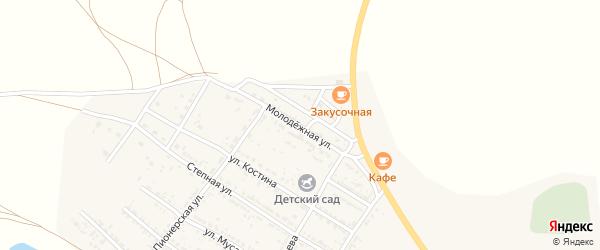Молодежная улица на карте Селитренного села Астраханской области с номерами домов