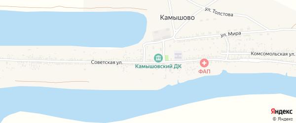 Советская улица на карте села Камышово Астраханской области с номерами домов