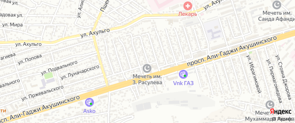 Улица Акушинского 14-я линия на карте Махачкалы с номерами домов