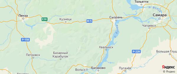 Карта Старокулаткинского района Ульяновской области с городами и населенными пунктами