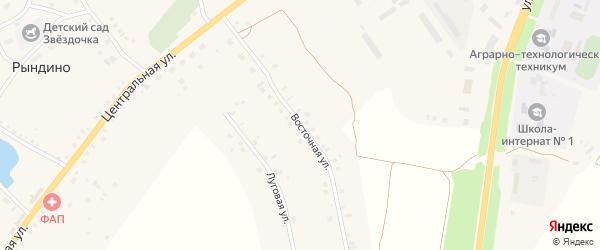 Восточная улица на карте села Рындино с номерами домов