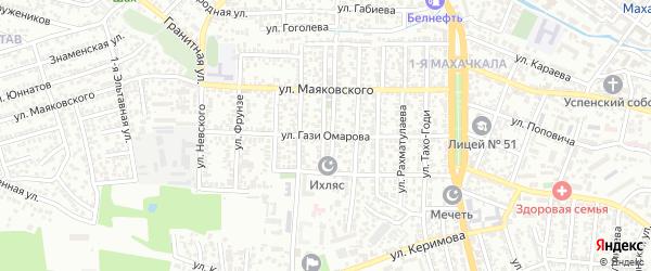 Улица Гази Омарова на карте Махачкалы с номерами домов