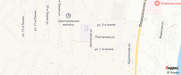 Школьная улица на карте села Шамхала-Янгиюрта Дагестана с номерами домов