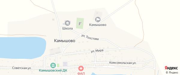 Улица Толстова на карте села Камышово Астраханской области с номерами домов