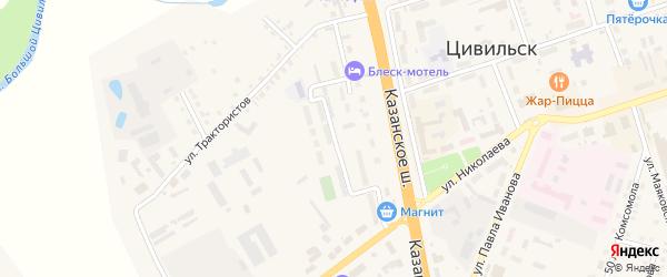 Шоссейная улица на карте Цивильска с номерами домов