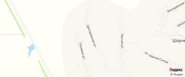 Центральная улица на карте деревни Шорчекасы Чувашии с номерами домов