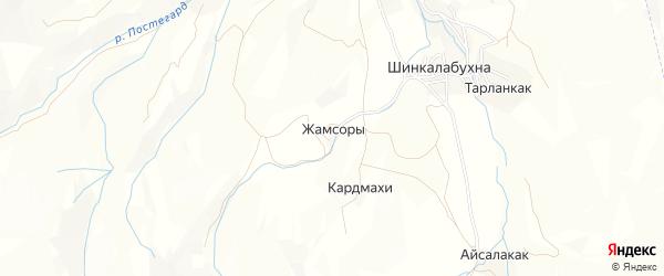Карта хутора Жамсоры в Дагестане с улицами и номерами домов