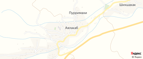 Улица Магомедова Халимбека Гаджиевича на карте села Аялакаба Дагестана с номерами домов