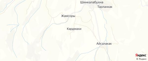 Карта хутора Кардмахи в Дагестане с улицами и номерами домов
