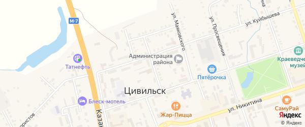 Улица Чкалова на карте Цивильска с номерами домов