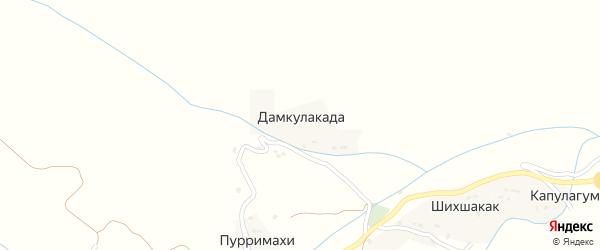 Улица Газибагандова на карте села Дамкулакады Дагестана с номерами домов