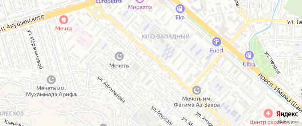 Проезд 1-й Хизроева на карте Махачкалы с номерами домов