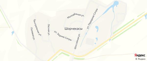 Карта деревни Шорчекасы в Чувашии с улицами и номерами домов