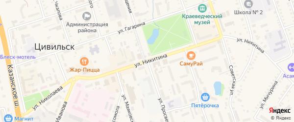Улица Просвещения на карте Цивильска с номерами домов