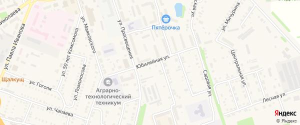 Юбилейная улица на карте деревни Вторые Вурманкасы с номерами домов