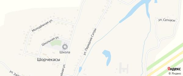 Улица Передние Сятры на карте деревни Шорчекасы Чувашии с номерами домов