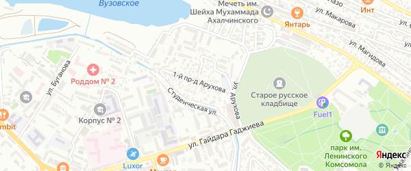 Улица Арухова на карте Махачкалы с номерами домов