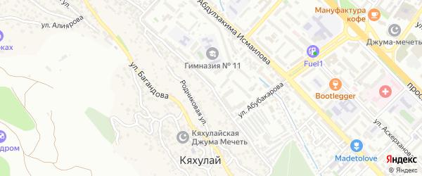 Улица Абдуллы Гаджиева на карте поселка Кяхулая с номерами домов