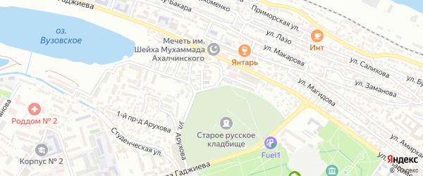 Вузовский 1-й проезд на карте Махачкалы с номерами домов