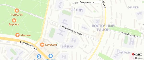 Комсомольская улица на карте Новочебоксарска с номерами домов