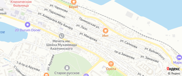 Улица Макарова на карте Махачкалы с номерами домов