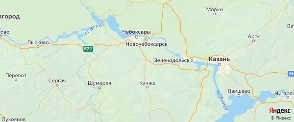 Карта Цивильского района Республики Чувашии с городами и населенными пунктами