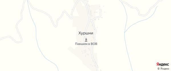 Лесная улица на карте села Хуршней с номерами домов