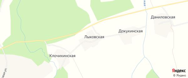Карта Лыковской деревни в Архангельской области с улицами и номерами домов