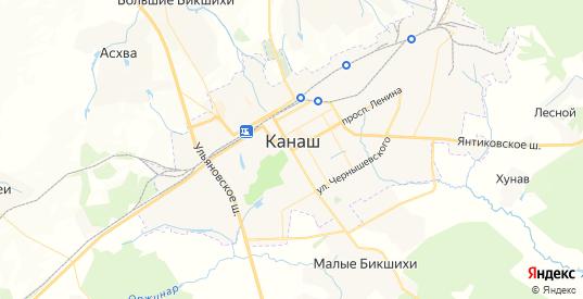 Карта Канаша с улицами и домами подробная. Показать со спутника номера домов онлайн
