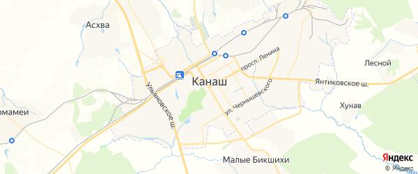 Карта Канаша с районами, улицами и номерами домов