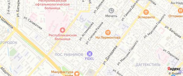Улица Ацы Абдуллаева на карте Махачкалы с номерами домов