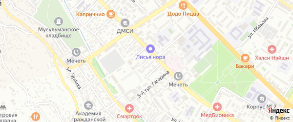 Улица Алибекова на карте Махачкалы с номерами домов