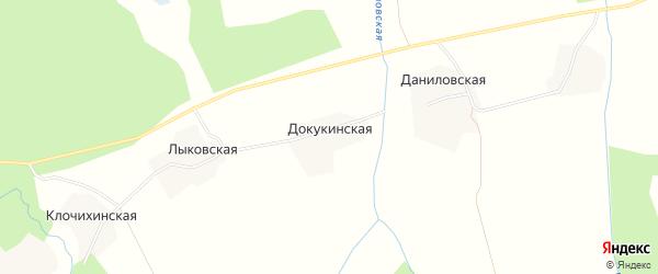 Карта Докукинской деревни в Архангельской области с улицами и номерами домов
