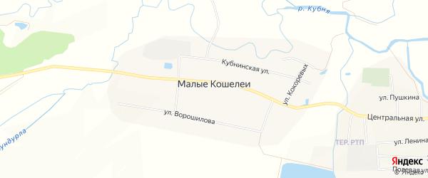 Карта деревни Малые Кошелеи в Чувашии с улицами и номерами домов