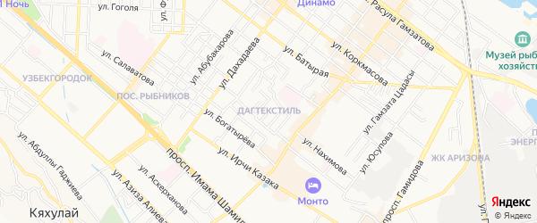 Карта микрорайона Дагтекстиля города Махачкалы в Дагестане с улицами и номерами домов