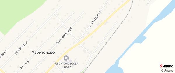 Улица Кирова на карте поселка Харитоново Архангельской области с номерами домов
