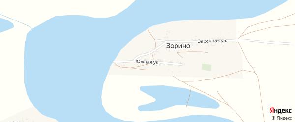 Южная улица на карте села Зорино Астраханской области с номерами домов