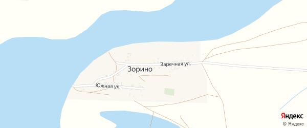 Заречная улица на карте села Зорино Астраханской области с номерами домов